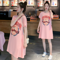 Dress Xiaolu Qingfeng M,L,XL,XXL Versatile Short sleeve Medium length summer Crew neck letter Pure cotton (95% and above) 3033A