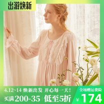 Nightdress Chelnlseey / Chen Xi White, pink S,M,L Sweet Long sleeves pajamas longuette autumn Solid color youth Crew neck cotton Embroidery 81% (inclusive) - 95% (inclusive) Knitted cotton fabric 200g and below