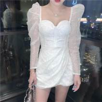 Dress / evening wear Wedding, adulthood, party, company annual meeting, performance, routine, appointment S,M,L,XL White, silver sexy Short skirt middle-waisted Winter 2020 Skirt hem U-neck Netting 26-35 years old Long sleeves Embroidery Solid color Other / other puff sleeve Hand embroidery