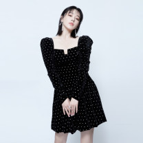 Dress Winter 2020 black S,M,L Short skirt singleton  Long sleeves commute square neck High waist Dot Socket A-line skirt routine Others 25-29 years old Type A Other / other Retro Diamond inlay, resin fixation, printing 81% (inclusive) - 90% (inclusive) velvet polyester fiber