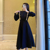 Dress Winter 2020 black S,M,L longuette singleton  Long sleeves commute Crew neck High waist Solid color Socket A-line skirt routine Others 18-24 years old Type A Other / other Ruffles, fungus, pocket, stitching, buttons brocade polyester fiber