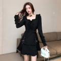 Dress Winter 2020 black S,M,L Short skirt singleton  Long sleeves commute square neck High waist Solid color Socket A-line skirt routine Others 25-29 years old Type A Other / other Retro Bowknot, ruffle, fold, Auricularia auricula, lace, splicing, bandage, resin fixation brocade cotton