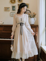 Dress Winter 2020 Pink, coffee S,M,L longuette singleton  Long sleeves commute square neck High waist Dot Socket A-line skirt routine Others 18-24 years old Type A Other / other lady 91% (inclusive) - 95% (inclusive) Chiffon cotton