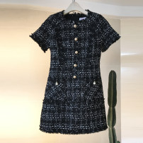 Dress Spring 2020 Black, white S,M,L Short skirt singleton  Short sleeve commute Crew neck middle-waisted lattice Socket A-line skirt routine Others 25-29 years old Type A Other / other Retro Tassel, Gouhua, hollow out, nail bead, zipper, resin fixation 81% (inclusive) - 90% (inclusive) brocade
