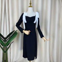 Dress Winter 2020 black S,M,L longuette singleton  Long sleeves commute square neck High waist Solid color Socket A-line skirt routine Others 25-29 years old Type A Other / other Retro Bowknot, lace, stitching, bandage, zipper, resin fixation 81% (inclusive) - 90% (inclusive) brocade cotton