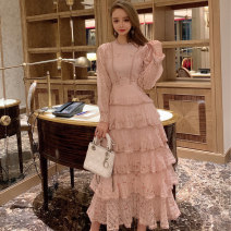 Dress Winter of 2019 Pink, white S,M,L longuette singleton  Long sleeves commute Crew neck middle-waisted Decor Socket Cake skirt routine Others 25-29 years old Type H Other / other Retro Flounce, hollow out, embroidery, stitching, mesh, lace 81% (inclusive) - 90% (inclusive) Lace cotton