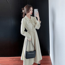 Dress Winter 2020 Apricot S,M,L Mid length dress singleton  Long sleeves commute Doll Collar middle-waisted Solid color Socket A-line skirt routine Others 25-29 years old Type A Other / other lady Bow, ruffle, lace, stitching, bandage 81% (inclusive) - 90% (inclusive) brocade cotton