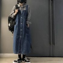 Dress Spring 2021 blue S,M,L,XL,2XL Mid length dress singleton  Long sleeves commute square neck Loose waist Solid color Single breasted A-line skirt routine straps Type A Korean version pocket Denim cotton