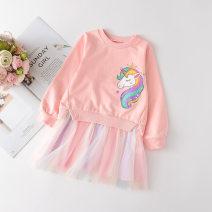 Dress Pink (spot), violet (spot), spot female SKULLQUEEN Size 100 (height 95-100cm), Size 110 (height 105-110cm), Size 120 (height 115-120cm), Size 130 (height 125-130cm), size 140 (height 135-140cm) Cotton 85% polyurethane elastic fiber (spandex) 15% spring and autumn Korean version Long sleeves