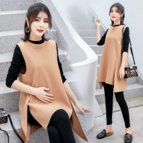 Dress Yunjia M,L,XL,XXL,XXXL Korean version Long sleeves Medium length autumn Crew neck Solid color Wool