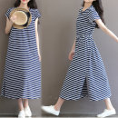 Dress Yunjia Blue white stripe no lactation blue white stripe lactation M L XL XXL Korean version Short sleeve have more cash than can be accounted for summer Crew neck stripe Pure cotton (95% and above)
