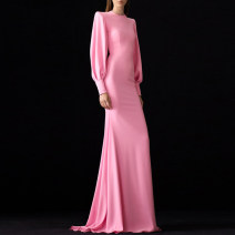 Dress / evening wear Wedding, adulthood, party, company annual meeting, performance, routine, appointment XXL,XXXL,XS,S,M,L,XL,XM Pink fashion longuette middle-waisted Spring 2020 fish tail zipper Brocade 26-35 years old TXP9033 Long sleeves 96% and above