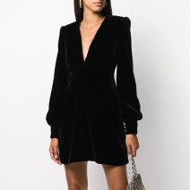 Dress / evening wear Wedding, adulthood, party, company annual meeting, performance, routine, appointment XXL,XXXL,XS,S,M,L,XL,XM black grace Short skirt middle-waisted Summer 2020 Skirt hem Deep collar V zipper velvet 26-35 years old TXP9005 Long sleeves 96% and above