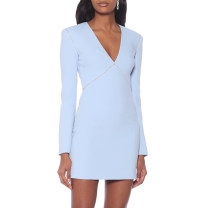 Dress / evening wear Wedding, adulthood, party, company annual meeting, performance, routine, appointment XXL,XXXL,XS,S,M,L,XL,XM sky blue fashion Short skirt middle-waisted Summer 2020 Short buttocks Deep collar V zipper Brocade 26-35 years old JR8236 Long sleeves 96% and above