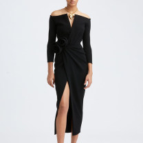 Dress / evening wear Wedding, adulthood, party, company annual meeting, performance, routine, appointment XXL,XXXL,XS,S,M,L,XL,XM black fashion longuette middle-waisted Autumn 2020 Self cultivation One shoulder zipper Brocade 26-35 years old JR8506 three quarter sleeve 96% and above