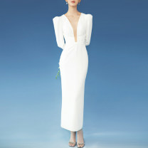 Dress / evening wear Wedding, adulthood, party, company annual meeting, performance, routine, appointment XXL,XXXL,XS,S,M,L,XL,XM white fashion longuette middle-waisted Autumn 2020 Self cultivation Deep collar V zipper Brocade 26-35 years old JR8651 Long sleeves 96% and above