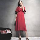 Dress Seaporey / cypress claret M L XL XXL Korean version Short sleeve Medium length summer V-neck Solid color LYQ--2944