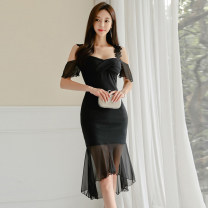 Dress Autumn of 2019 black S,M,L,XL Middle-skirt singleton  Sleeveless commute One word collar middle-waisted Solid color zipper Ruffle Skirt routine camisole 25-29 years old Type X Korean version 81% (inclusive) - 90% (inclusive) brocade nylon