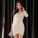 Dress Spring 2021 white S,M,L,XL Short skirt singleton  Long sleeves commute V-neck High waist Solid color zipper One pace skirt routine 25-29 years old Type H Korean version zipper brocade polyester fiber