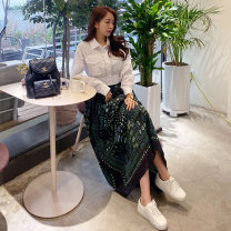 Dress Summer 2020 Picture color (suit) S,M,L,XL Miniskirt Two piece set Long sleeves commute Polo collar middle-waisted other other Big swing shirt sleeve Others Other / other Korean version 81% (inclusive) - 90% (inclusive) brocade nylon