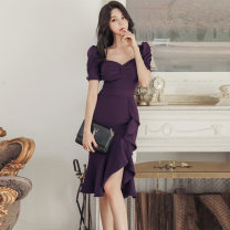 Dress Autumn of 2019 Deep purple S,M,L,XL Middle-skirt singleton  Short sleeve commute V-neck middle-waisted Solid color zipper Ruffle Skirt routine Others 25-29 years old Type X Other / other Korean version 81% (inclusive) - 90% (inclusive) brocade nylon