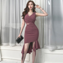 Dress Summer 2021 Purplish red S,M,L,XL Mid length dress singleton  Sleeveless commute V-neck middle-waisted Solid color Socket Ruffle Skirt 18-24 years old Korean version 31% (inclusive) - 50% (inclusive) brocade cotton