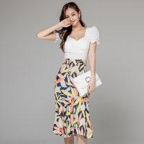 Dress Summer 2020 Picture color S,M,L,XL Middle-skirt Two piece set commute Crew neck High waist Decor zipper Type X Other / other Korean version
