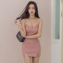 Dress Summer 2021 Red and white lattices S,M,L,XL Short skirt singleton  Sleeveless commute V-neck middle-waisted lattice zipper One pace skirt camisole Type H lady backless 31% (inclusive) - 50% (inclusive) brocade cotton