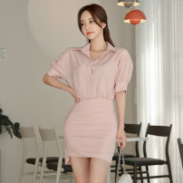 Dress Summer 2020 Pink S,M,L,XL singleton  commute Polo collar High waist Solid color Three buttons Pencil skirt routine Type X Other / other Korean version Chiffon