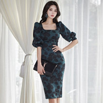 Dress Autumn of 2019 Picture color S,M,L,XL Middle-skirt singleton  commute square neck High waist Decor zipper A-line skirt routine Type X Other / other Korean version