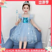 Dress Blue, blue single skirt, pink single skirt, pink female Other / other The recommended height is 80-90cm for Size 90, 90-100cm for size 100, 100-110cm for Size 110, 110-120cm for Size 120, 120-130cm for Size 130 and 130-140cm for size 140 Cotton 90% other 10% winter princess Short sleeve cotton