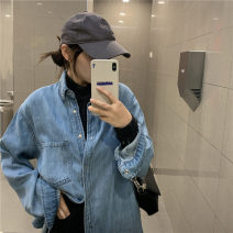 shirt Picture color Average size Spring 2021 cotton 31% (inclusive) - 50% (inclusive) Long sleeves commute Regular Polo collar Single row multi button routine Solid color 18-24 years old Straight cylinder Korean version
