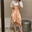 Dress Spring 2021 Black stitching, white stitching S,M,L Short skirt Fake two pieces Short sleeve commute Crew neck High waist Solid color Socket Irregular skirt other Others Type H Korean version Splicing, three-dimensional decoration, resin fixation, 3D 30% and below Chiffon cotton