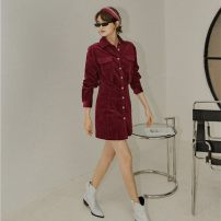 Dress Winter of 2019 Jujube red S,M,L Short skirt singleton  Long sleeves commute Polo collar High waist Solid color Single breasted A-line skirt routine Others 18-24 years old Type X Korean version 30% and below corduroy cotton