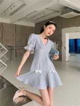 Dress Spring 2021 violet XS,S,M,L,XL Middle-skirt singleton  Short sleeve commute V-neck Solid color zipper A-line skirt Others 25-29 years old Type A Other / other Korean version 51% (inclusive) - 70% (inclusive) other