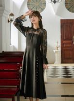Dress Autumn 2020 black S,M,L Mid length dress singleton  Long sleeves commute High waist Socket 18-24 years old Type A Korean version