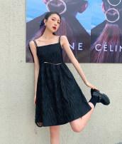 Dress Spring 2021 Dark black S, M singleton  Long sleeves commute High waist 18-24 years old Type A Korean version