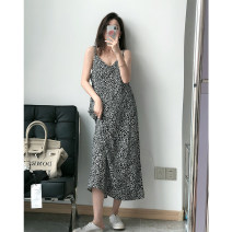 Dress Summer 2021 Black [Mass stock], coffee [Mass stock] S,M,L Miniskirt singleton  Sleeveless commute V-neck Loose waist Leopard Print Socket A-line skirt other camisole 18-24 years old Type A Other / other Korean version printing 30% and below other