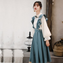 Dress Summer 2020 Green one-piece strap skirt, white shirt S,M,L Mid length dress singleton  Sleeveless Sweet High waist Decor Big swing straps 25-29 years old Type A Flounce, embroidery, fold, Auricularia auricula, strap, button, zipper 30% and below other college