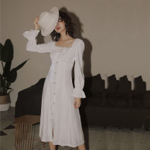 Dress Autumn of 2019 White Long Sleeve stock, white 5-sleeve stock S,M,L Mid length dress singleton  Long sleeves commute square neck High waist Solid color Socket Big swing puff sleeve Type A court