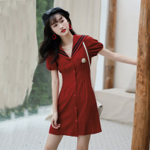 Dress Summer 2020 claret S,M,L Mid length dress singleton  Short sleeve commute Admiral High waist Solid color zipper A-line skirt routine Type A Other / other Retro