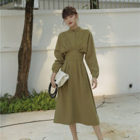 Dress Autumn of 2019 Avocado Green XS,S,M,L Mid length dress singleton  Long sleeves commute Crew neck High waist Solid color zipper Big swing routine 25-29 years old T-type Simplicity 30% and below other polyester fiber