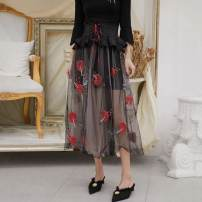 skirt Spring 2020 S,M,L black Middle-skirt Retro High waist Splicing style Type A 91% (inclusive) - 95% (inclusive)