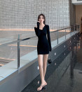Dress Spring 2021 black S,M,L,XL Short skirt singleton  Long sleeves commute V-neck High waist Irregular skirt routine Others Type H 51% (inclusive) - 70% (inclusive) other
