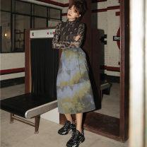 skirt Autumn of 2019 S,M,L Decor Mid length dress Versatile High waist Pleated skirt Abstract pattern Type A 31% (inclusive) - 50% (inclusive) Other / other other Tuck, pocket, tie dye