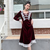 Dress Autumn 2020 claret S,M,L Mid length dress singleton  Long sleeves commute square neck High waist Solid color A-line skirt Lotus leaf sleeve Others 18-24 years old Type A Retro Splicing other polyester fiber