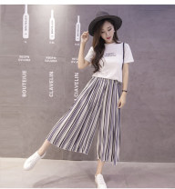 Casual pants M,L,XL Summer of 2018 Cropped Trousers Wide leg pants High waist commute Thin money 18-24 years old 31% (inclusive) - 50% (inclusive) 5021# other Korean version fold
