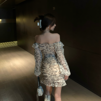 Dress Spring 2021 Long sleeve, short sleeve S,M,L Short skirt Long sleeves commute One word collar High waist Broken flowers Socket Ruffle Skirt puff sleeve Others 18-24 years old Type A Retro organza