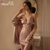 Pajamas / housewear set female Fei Mu Average size 7819 powder [nightdress-t pants], 7820 powder [nightgown belt-t pants] silk camisole sexy pajamas summer Thin money V-neck Solid color Socket youth 2 pieces More than 95% Lace fabric Hollowing out 200g and below Short skirt