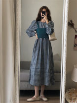 Dress Spring 2021 Picture color S,M,L,XL,2XL longuette singleton  Long sleeves commute Crew neck High waist lattice Socket A-line skirt routine Others 18-24 years old Type A Korean version 71% (inclusive) - 80% (inclusive) other